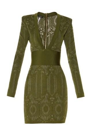 dress knit lace green