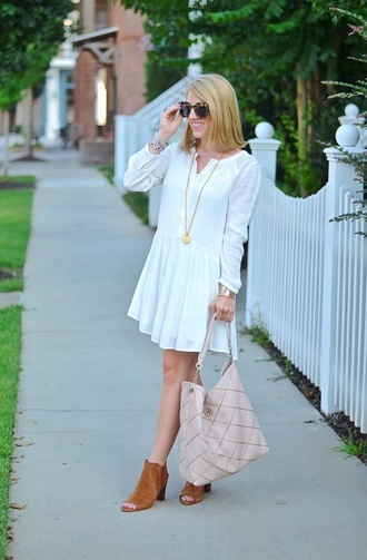 something delightful blogger dress shoes long sleeves white dress button up mini dress nude bag suede boots booties
