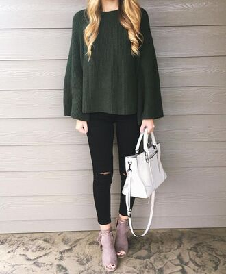 sweater tumblr green sweater oversized sweater oversized jeans black jeans ripped jeans black ripped jeans bag white bag handbag boots grey boots peep toe boots