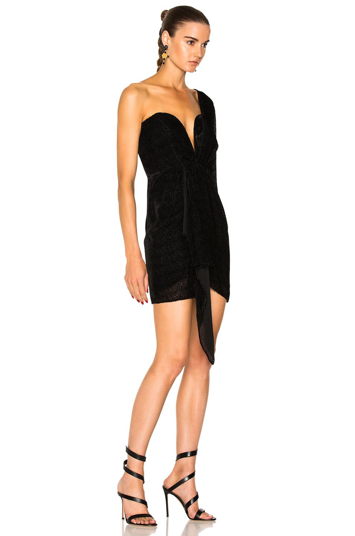 46272362ab319 Michelle Mason Draped One Sleeve Mini Dress in Black   FWRD