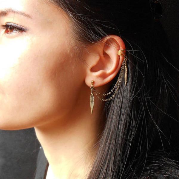 jewels ear cuff cuff earrings leaves jewelry earrings feathers feather earrings