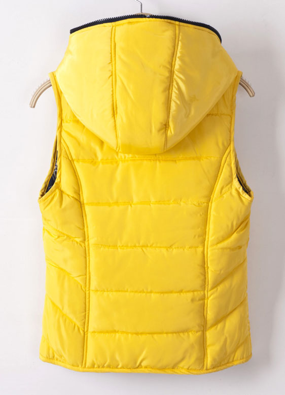 Yellow Hooded Sleeveless Plaid Wear Both Sides Down Coat - Sheinside.com