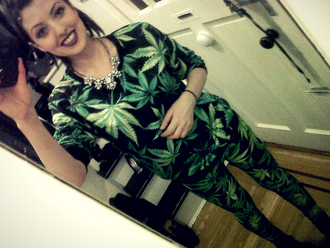 romper weed matching set pot leaves suit 420 digital smoke blaze 2014 hot cute