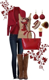 sweater,red,scarf,cardigan