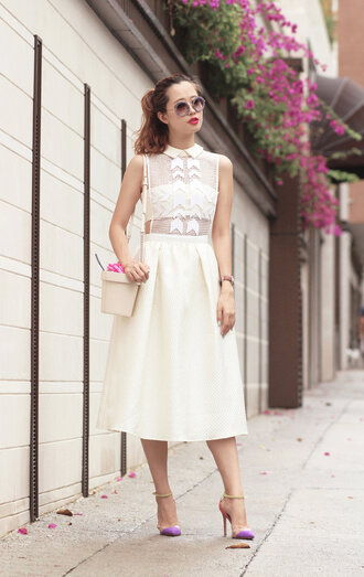 mellow mayo blogger sunglasses dress classy midi dress off-white round sunglasses preppy shoulder bag sandals miu miu our favorite dresses 2015