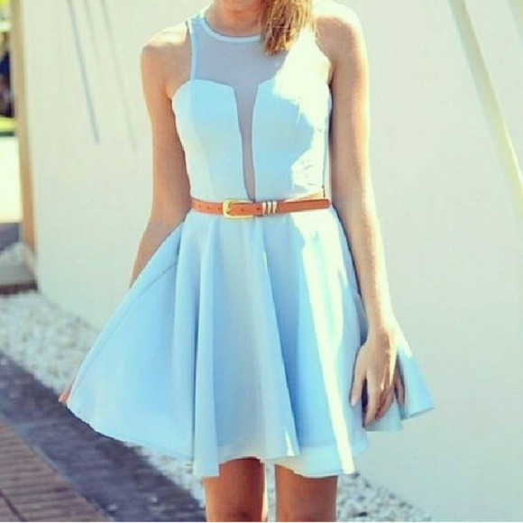 dress cut-out baby blue see through