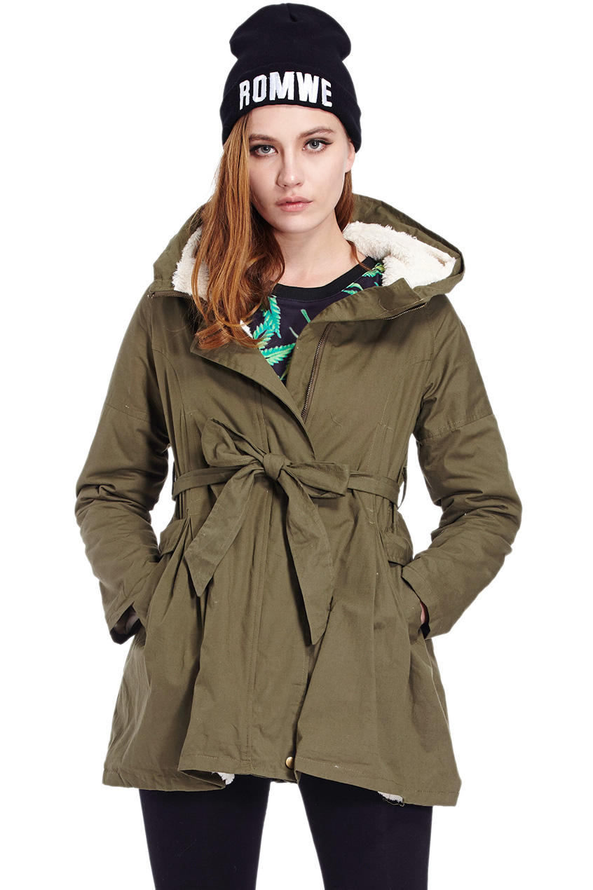 ROMWE | Fur Lining Army Green Cotton Coat, The Latest Street Fashion