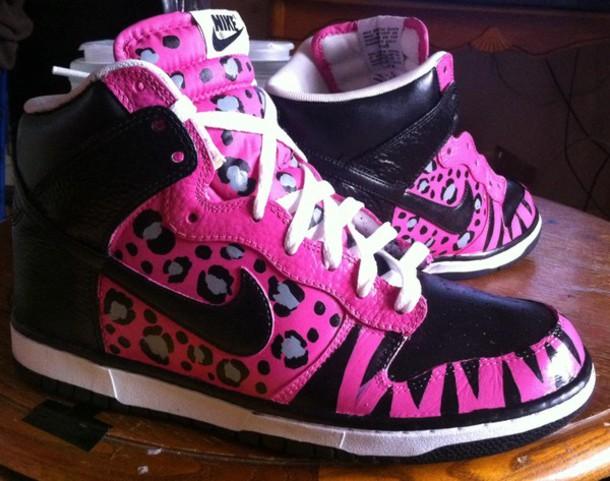best service b2298 395d4 shoes leopard print hot pink black white zebra styripe nike dunks nike dunks