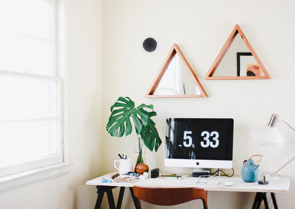 Triangular Mirror- Barn Wood Frame- Hanging Mirror- Reclaimed Wood ...