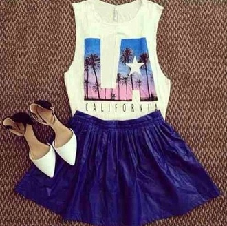 shirt t-shirt blue skirt los angeles crop tops skirt summer