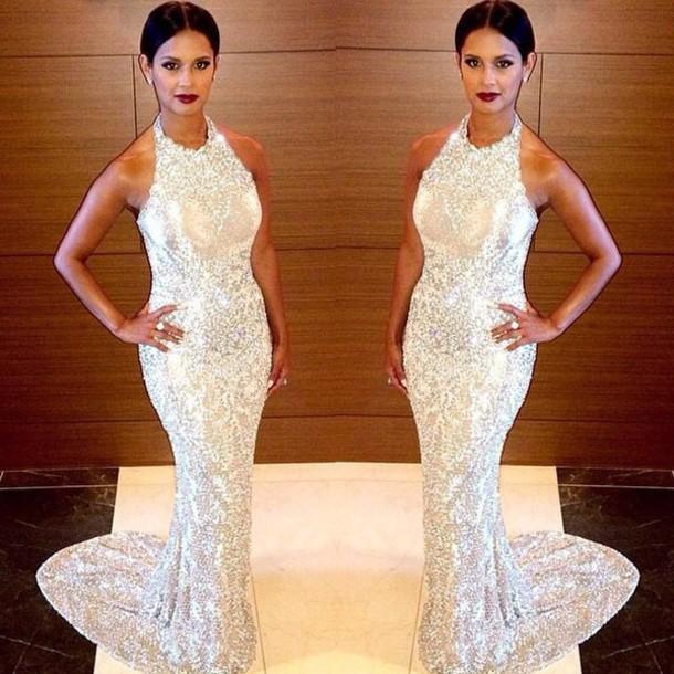 dress white glittery