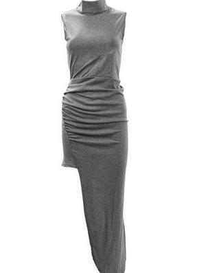 High Collar Hem Irregular Dress