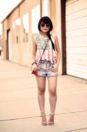 daily disguise,tank top,shorts,shoes,bag,jewels,sunglasses