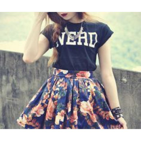 skirt t-shirt floral skirt nerd top wheretoget? fashion teen fashion trendy