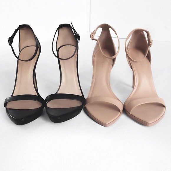 nude shoes high heels simple minimal strappy