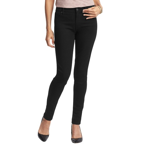 Waist Super Skinny Jeans in Black | Loft