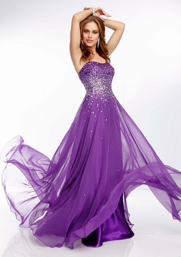 Prom Dress From Paparazzi By Mori Lee Style 95007 Ombre Beaded Chiffon Prom Gown