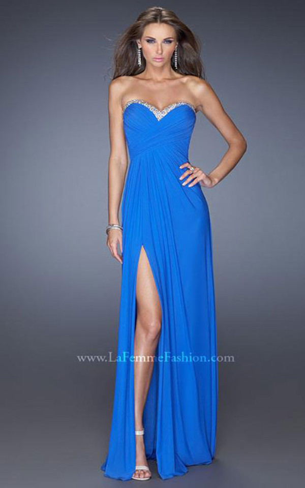 dress blue slit long prom dress