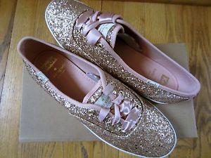 262938681bac Kate Spade Keds Sneakers Kick Rose Gold Glitter Shoes Pink Ribbon ...