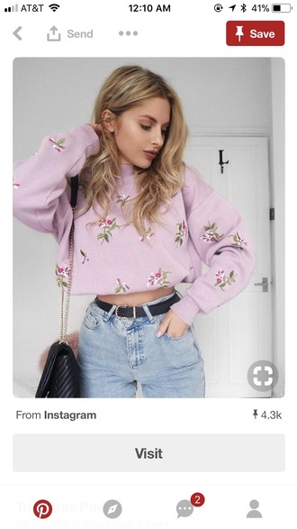 sweater floral embroidered pink