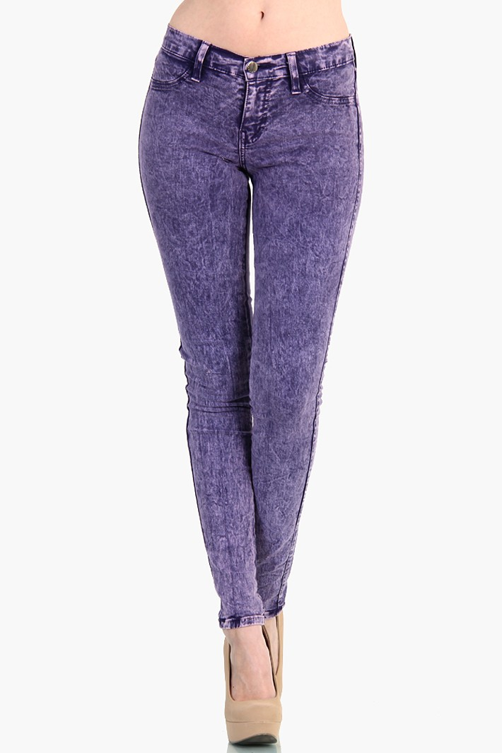 SKINNY JEANS - Acid wash Purple