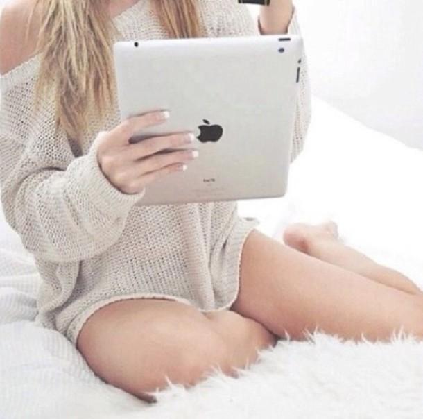 Knitting Inspiration Tumblr : Sweater cream beige oversized
