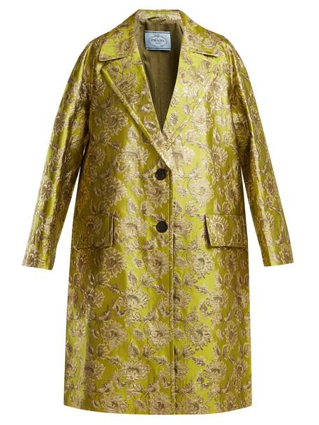 PRADA Notch-lapel floral-brocade coat in green