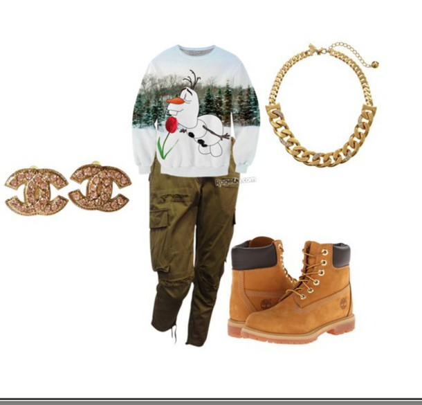 hat printed sweater timberlands chanel