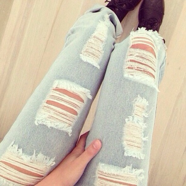 jeans light blue ripped ripped jeans blue