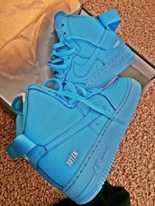 shoes,nike,neon blue,mens shoes,nike sneakers,blue,high top sneakers