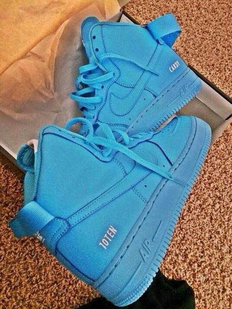 shoes, nike, neon blue, mens shoes