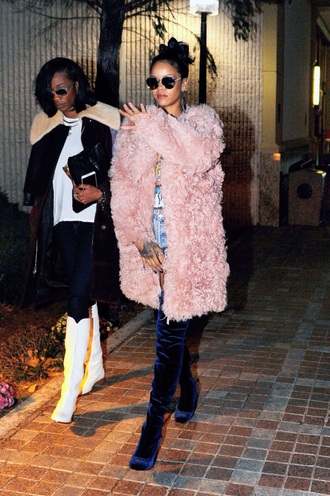 coat rihanna fuzzy coat faux fur pink fur coat
