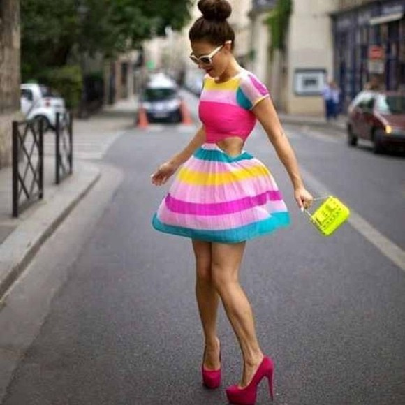 colorblock dress dress pink yellow cutout dress short sleeve dress teal