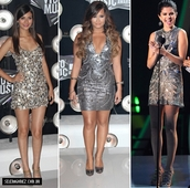 dress,celebrity,selena gomez,silver,mini dress