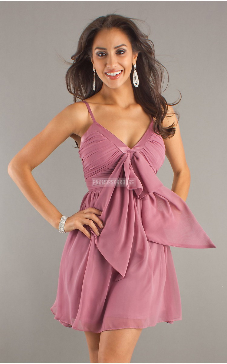 Straps Keyhole Ruching Chiffon Bowknot Empire Pink Cocktail Dress - Promdresshouse.com