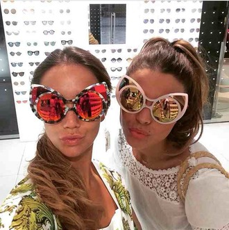 sunglasses cat sunglasses red sunglasses mirrored sunglasses pink sunglasses celebrity style instagram