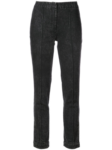 Adam Lippes - acid wash straight leg jeans - women - Cotton/Spandex/Elastane - 2, Black, Cotton/Spandex/Elastane