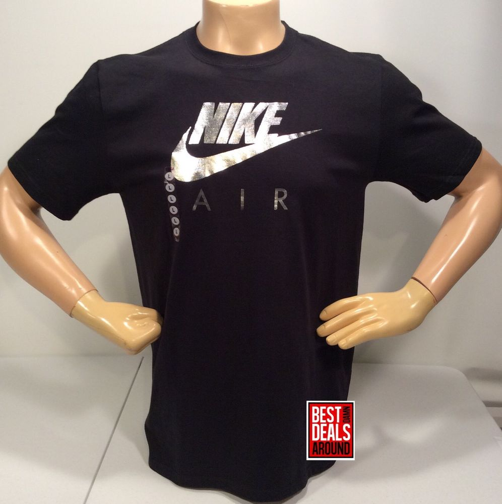Oop nike air t shirts black silver foil metallic screen for Print photo on shirt