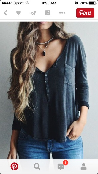 shirt cute long sleeves buttons up front grey gray dark colors