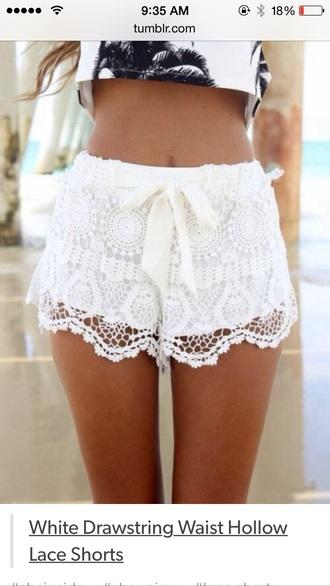 shorts whie shorts lace shorts