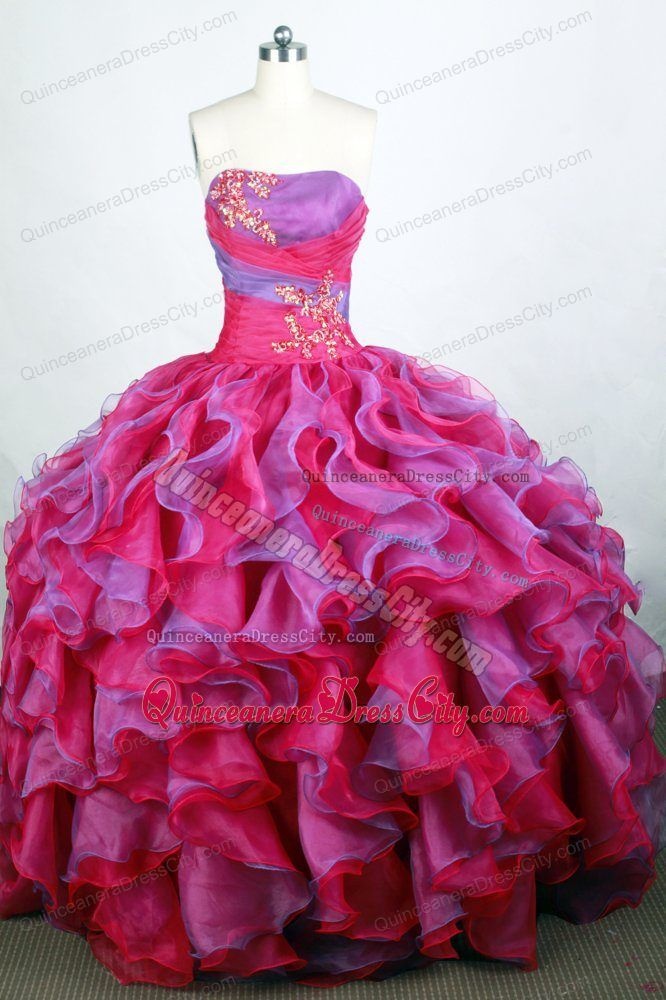 Ruffles layered purple and hot pink beaded quinceaneras dresses