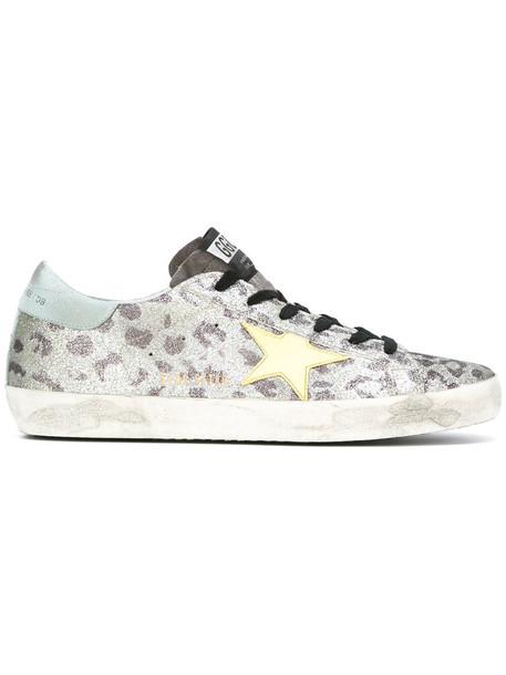GOLDEN GOOSE DELUXE BRAND women sneakers leather cotton suede grey metallic shoes