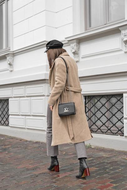 coat tumblr camel camel coat hat black hat bag black bag pants grey pants boots