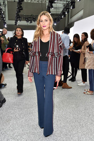 jacket jeans flare jeans olivia palermo blogger streetstyle paris fashion week 2016 work outfits celebrity work outfits