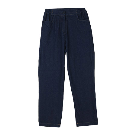 Loose Denim Pants with Elastic Waistband