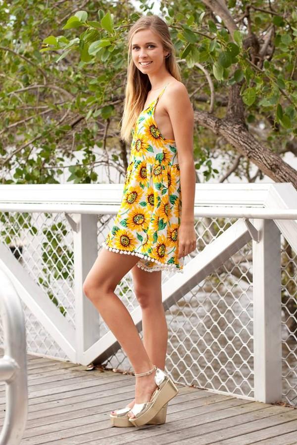 dress romper romper sunflower pom poms pompom playsuit sunflower print cute