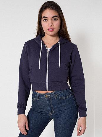 Cropped Flex Fleece Zip Hoodie | American Apparel