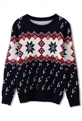 Snowflake Fairisle Sweater in Navy Blue - Retro, Indie and Unique Fashion