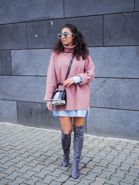 d54dd39dfde samieze blogger sweater dress bag sunglasses oversized sweater blue shirt  thigh high boots boots pink sweater
