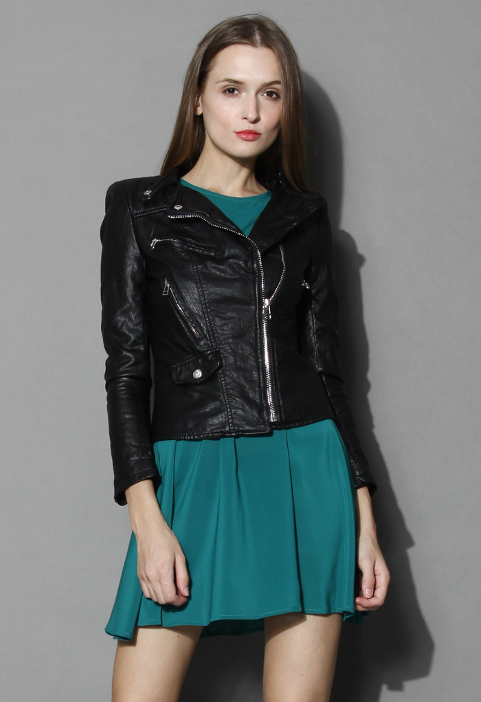 Chicwish Faux Leather Quilted Biker Jacket - Retro, Indie and Unique Fashion
